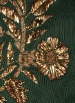 Detail of gold embroidery on court train, KSUM 1983.1.2011. Collection of the Kent State University Museum.